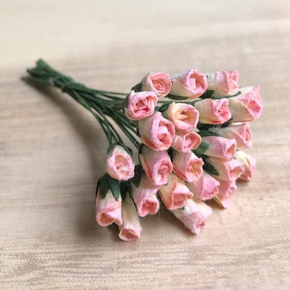 25 50pcs 5mm Mini Mulberry Paper Rose Miniature Paper Flower Mini