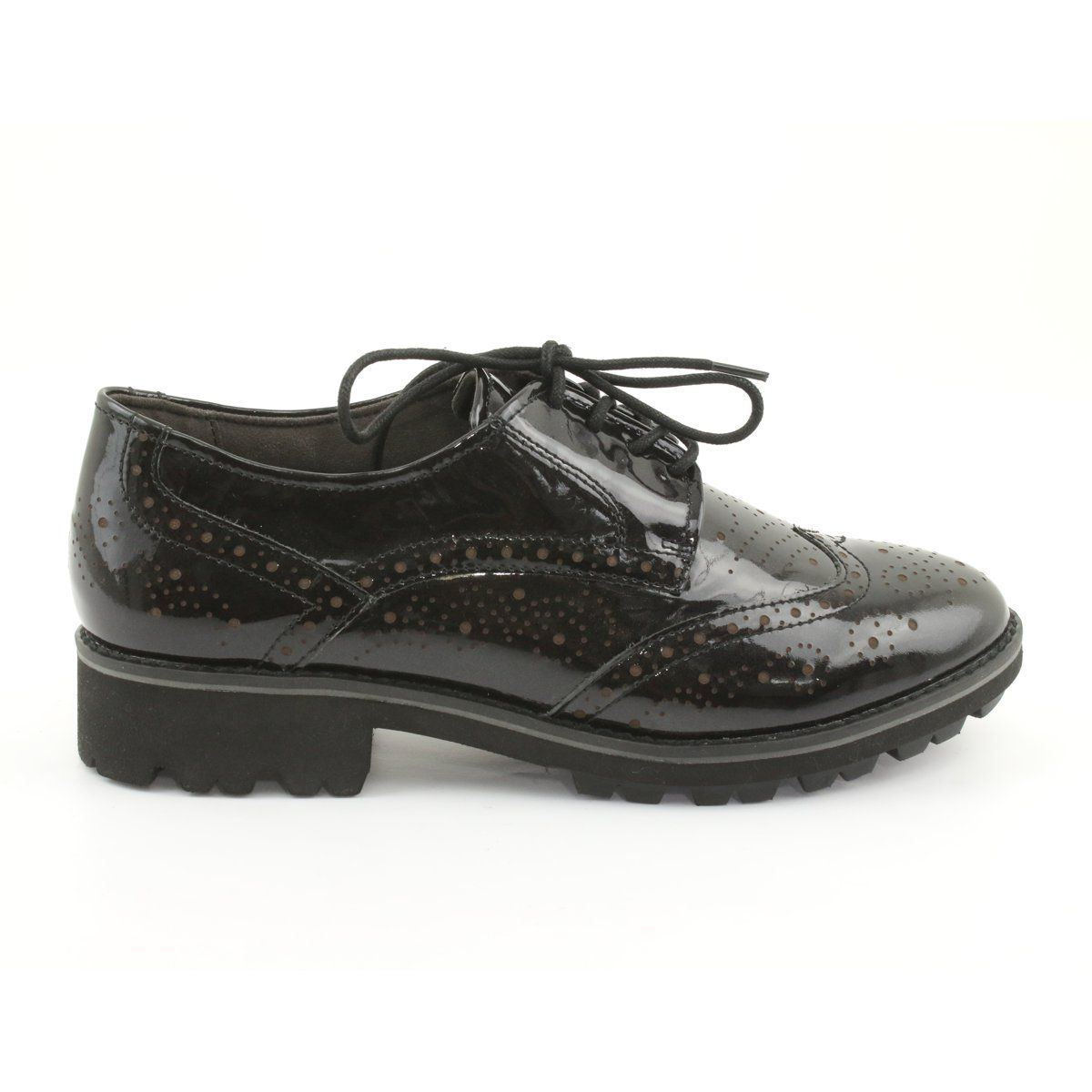 Oksfordki Polbuty Sznurowane Caprice 23701 Czarne Wielokolorowe Oxford Shoes Lace Up Shoes Women Oxford Shoes