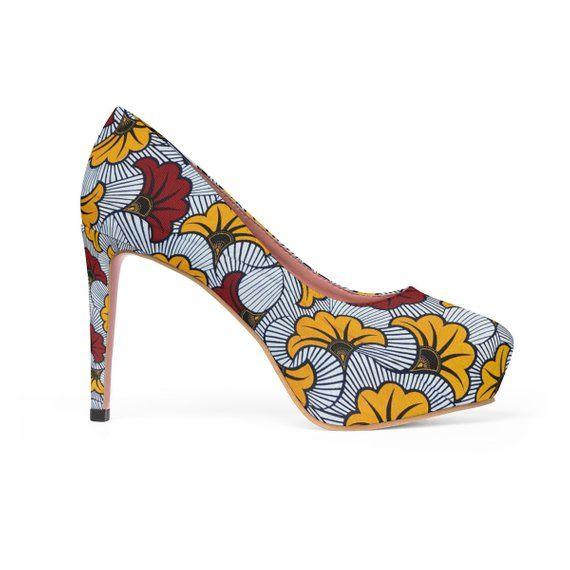 7313e8f51c274 Yellow Floral Ankara Tribal African Print WomenS Platform Heels ...