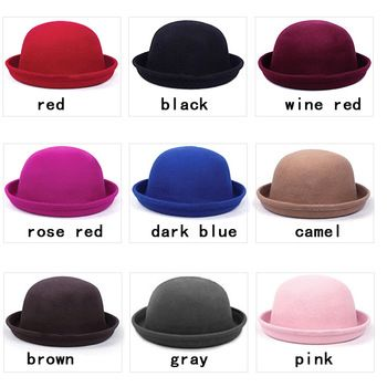 a742927a Vintage Fashion Wool Women's Cute Lady Hat Trendy Bowler Derby Hat Men's  Cloche