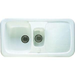 Wickes Farmhouse 1.5 Bowl Kitchen Ceramic White Sink   Bowl sink ...