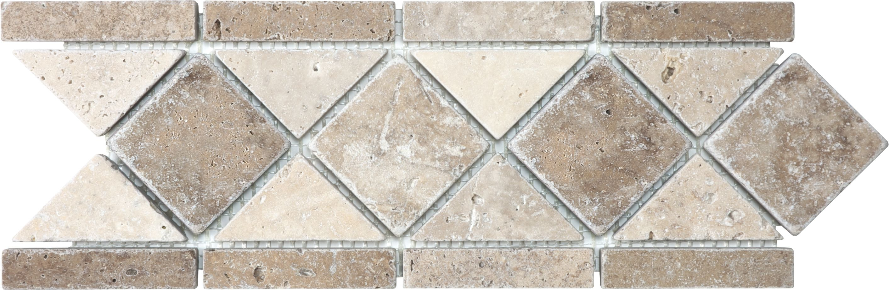 Anatolia Tile Noce And Chiaro Travertine Listello Tile