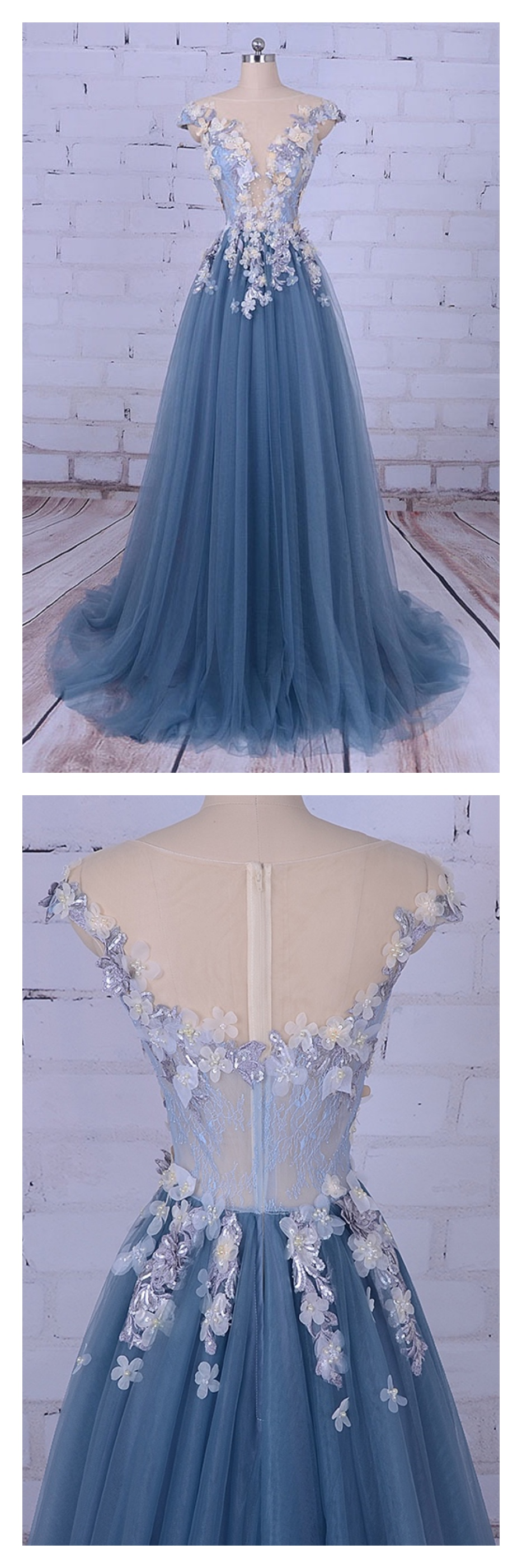 A line long tulle prom dresses with appliqueed pinterest