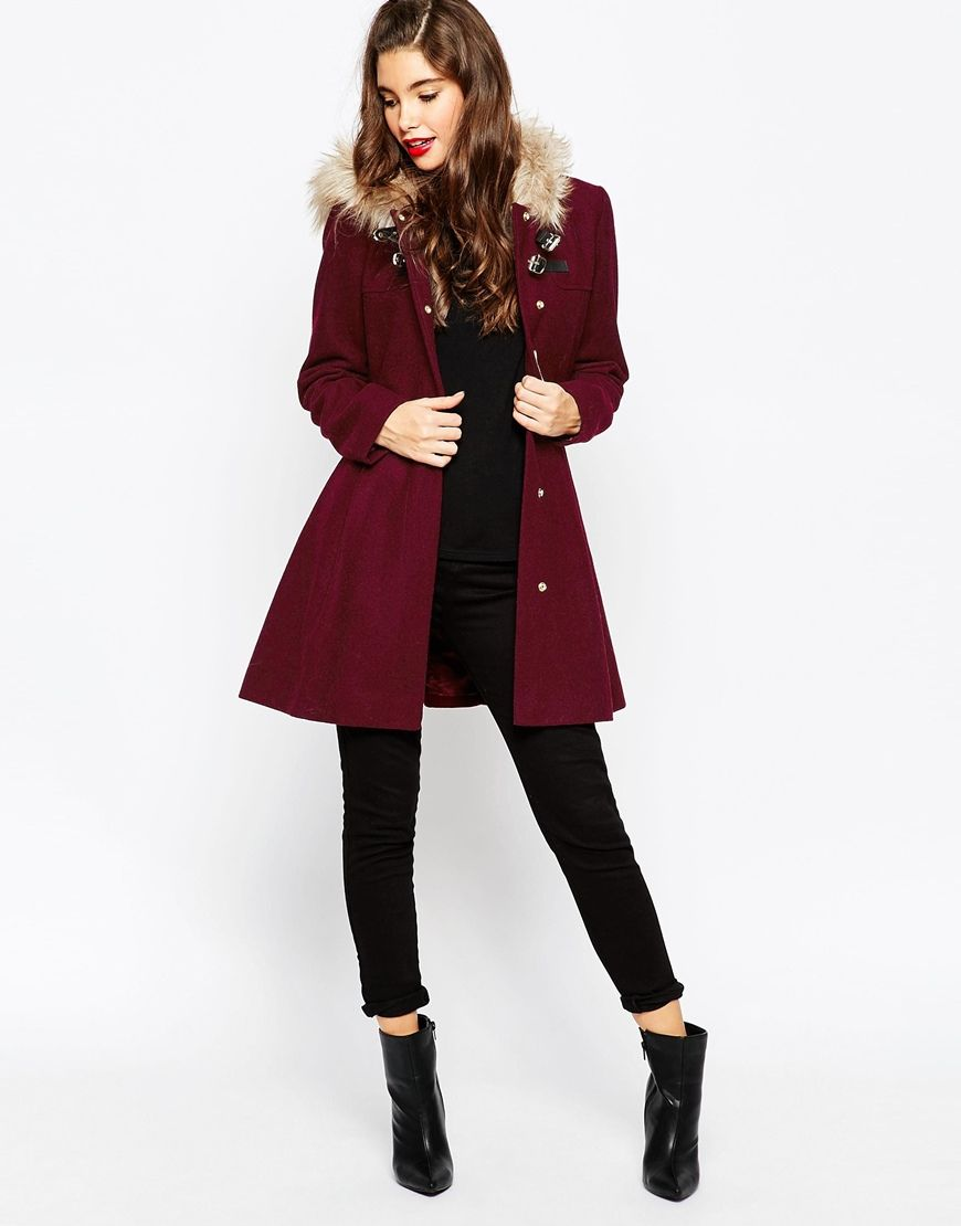 Image 4 of ASOS Duffle Coat with Faux Fur Hood | 2015 winter ...
