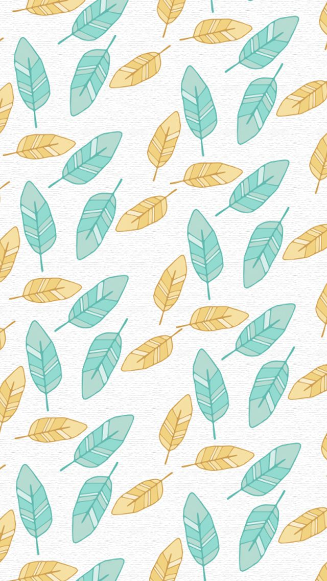 Iphone 5 Wallpaper Feathers Aqua Yellow Colors