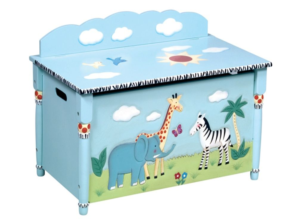 Childrens Animals Storage Box Chest 3 Kids Drawer Bedroom: Safari Painted Toy Box - Free Delivery