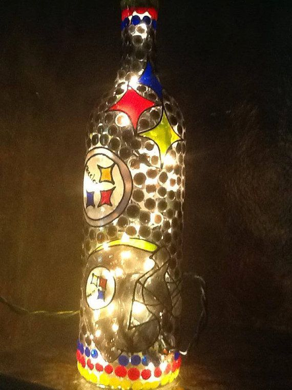 Pittsburgh Steelers Decorative Lighted Wine by WineNotBottles, $30.00