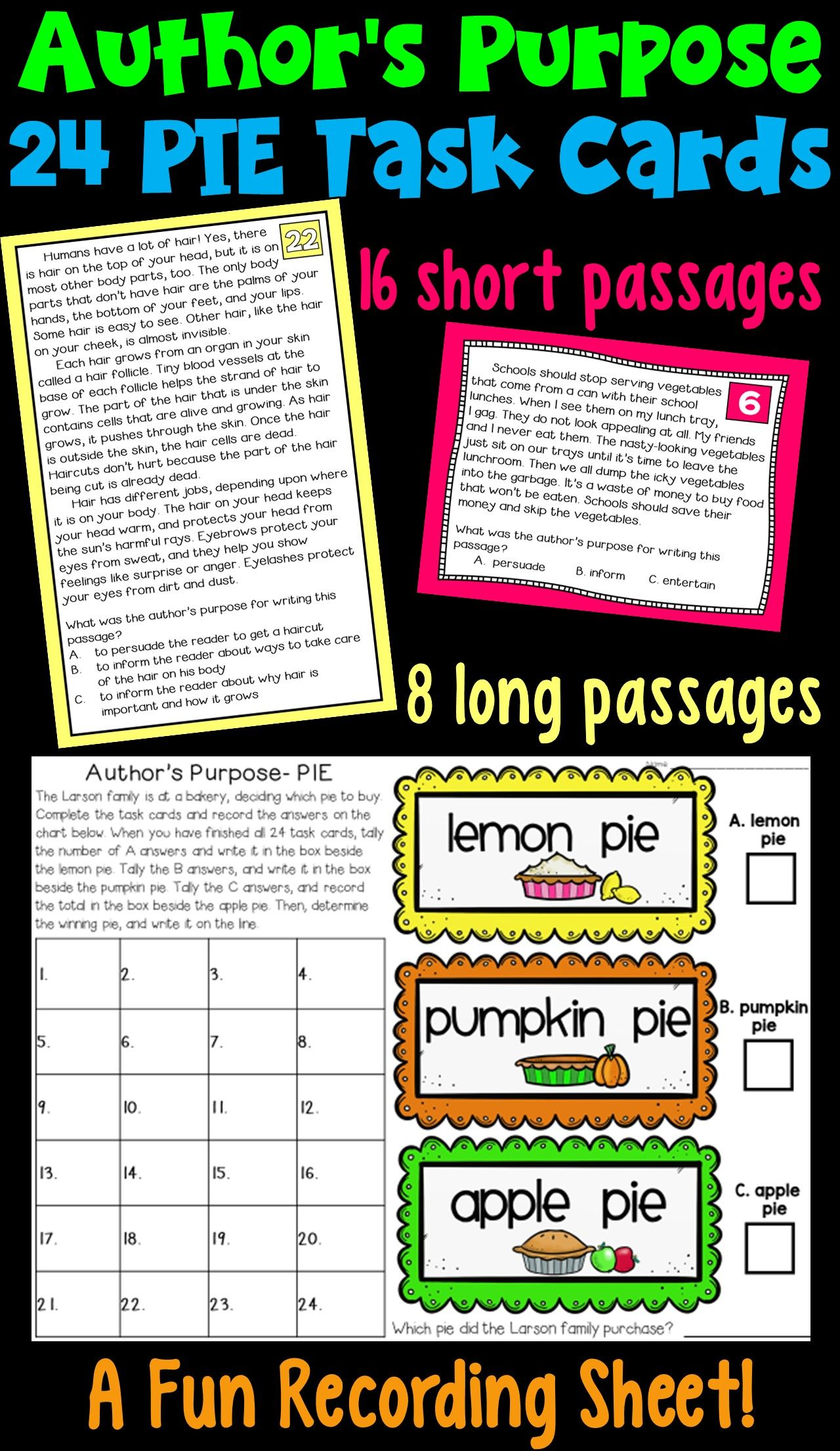 Author S Purpose Task Cards
