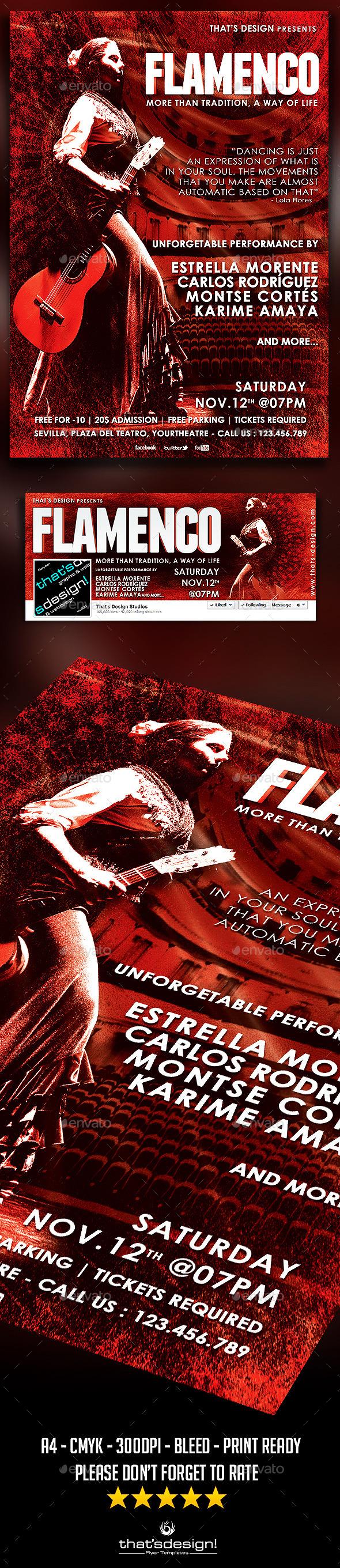 8 5x11 poster design - Flamenco Flyer Template V1