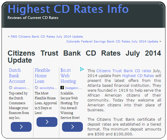 The Banker: Citizens Trust Bank CD Rates July 2014 Update