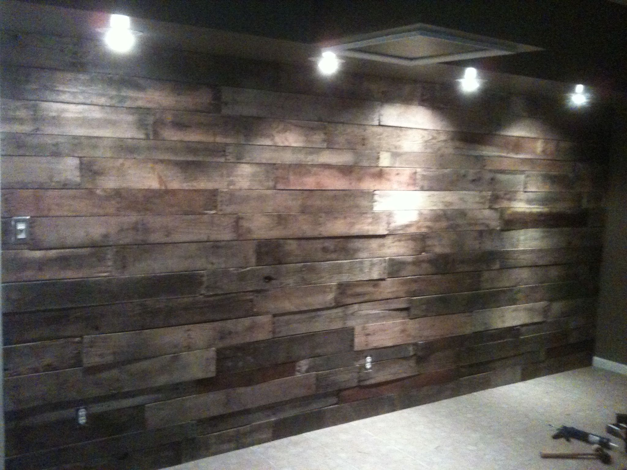 Drum Studio Wall Layered With Pallet Boards