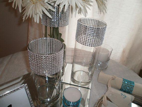 Centerpiece Vases Wedding Bling Glass Vases Rhinestone Wedding Bling