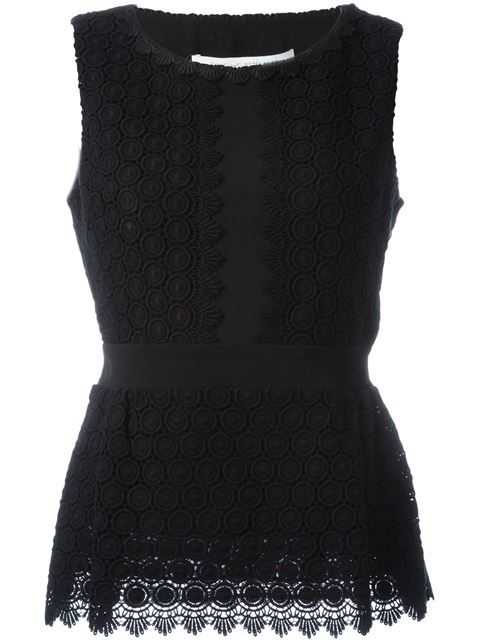 Tavita Cosmic Lace Cotton Top, Black | Diane Von Furstenberg | Pinterest