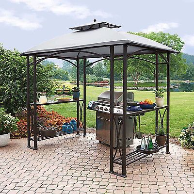 Double Roof Grill Shelter Gazebo, 8'x5' Outdoor Canopy Bbq Patio Deck Tent Yard