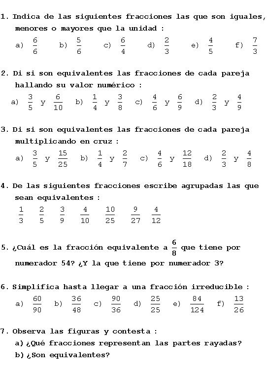 Ejercicios Resueltos Fracciones Equivalentes Fracciones Fracciones Equivalentes Ejercicios Matematicas Fracciones