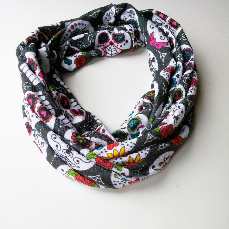 Sugar Skulls infinity scarf by willowandwither on Etsy https://www.etsy.com/listing/250206193/sugar-skulls-infinity-scarf