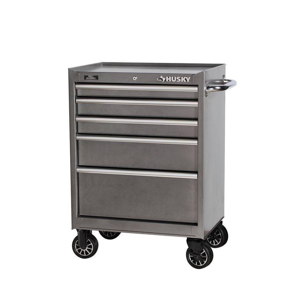 Husky 27 In W 5 Drawer Tool Cabinet Metallic Silver H5tr2leg