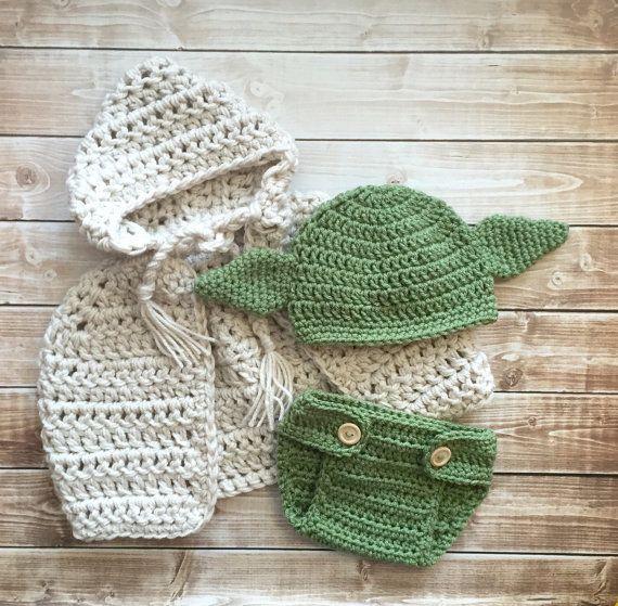 Inspiró a Yoda sombrero capa con coincidencia de pañales | Lugares ...