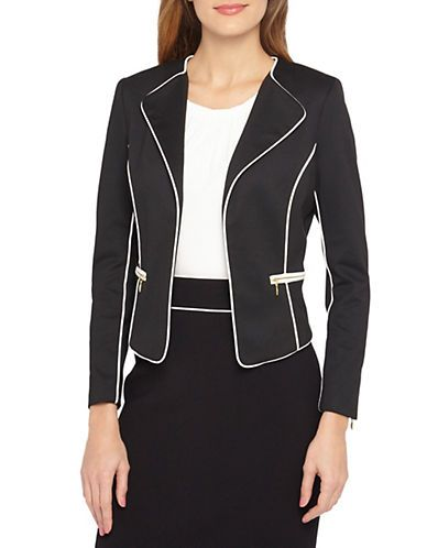 Tahari Arthur S. Levine Pipe Stitching Jacket Women s Black Ivory 6 ... ab0536afe