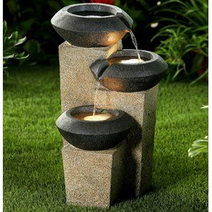 Resin Three Tiered Modern Style Illuminated Water Fountain With LED Light