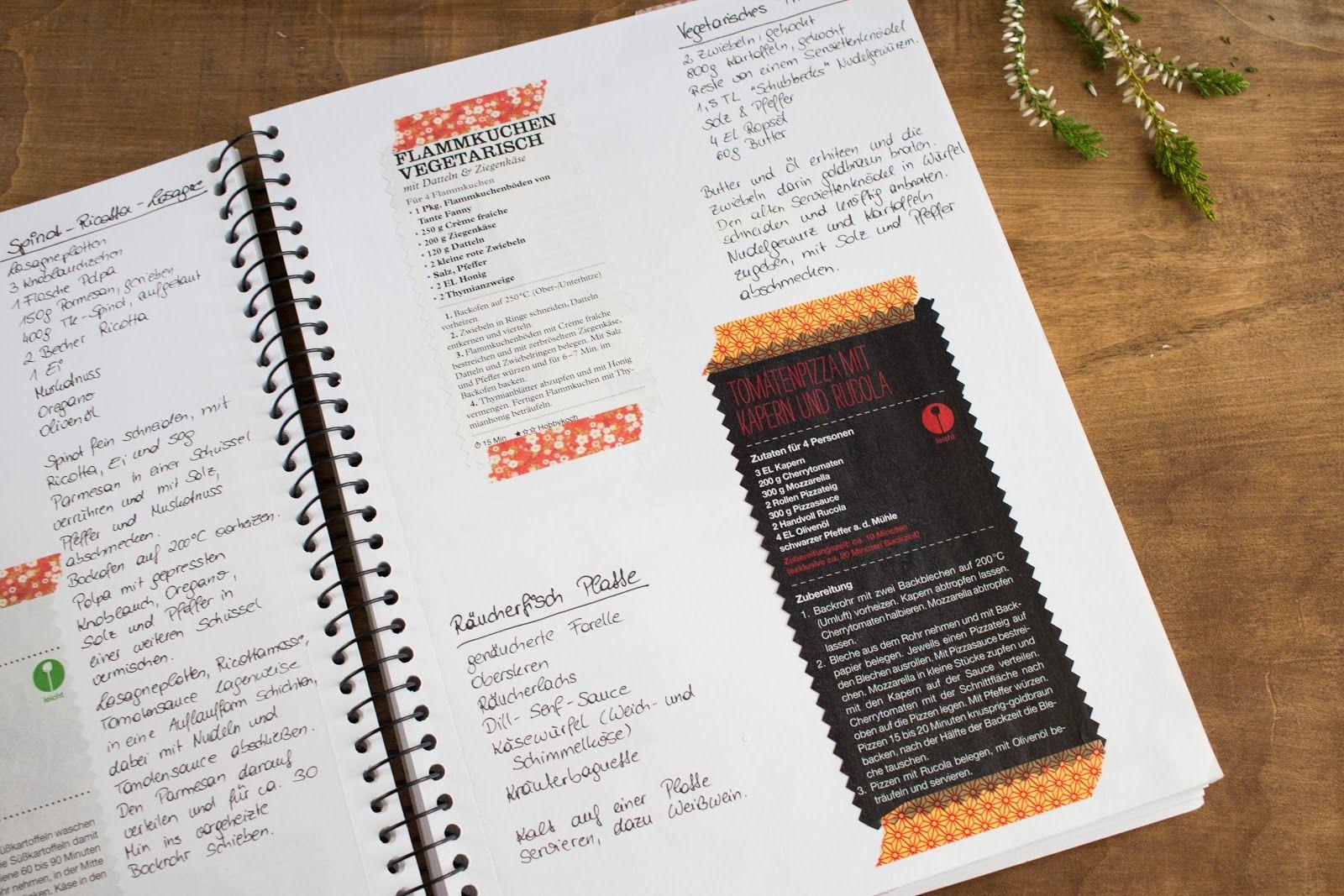 diy kochbuch mit washi tape gestalten minimalismus kochbuch und gestalten. Black Bedroom Furniture Sets. Home Design Ideas