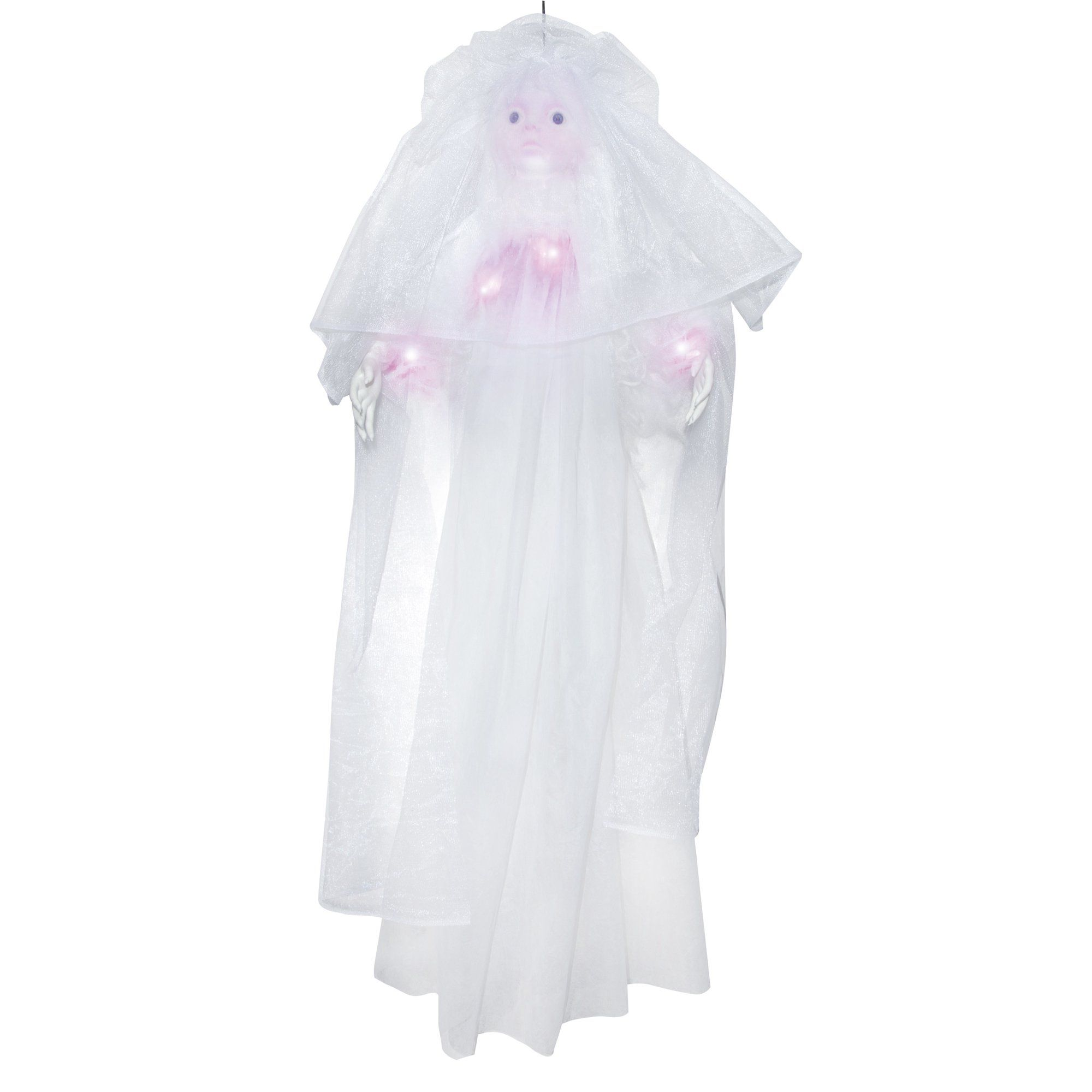 Battery Operated Light Up Hanging Bride Ghost White Dress Halloween Prop Decor Walmart Com Walmart Com In 2020 Halloween Dress Halloween Props Ghost White