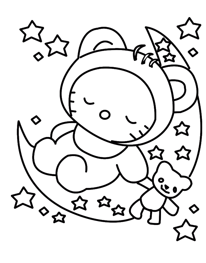 Hello Kitty Sleeping In Christmas Eve Coloring For Kids Hello Kitty Coloring Hello Kitty Colouring Pages Hello Kitty Drawing