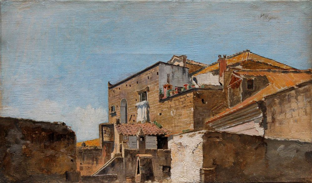 Vincenzo Caprile ( Naples 1856 - 1936 ), From the roof.    Oil on canvas cm 20 x 33 signed upper right.....guessing this is Naples..