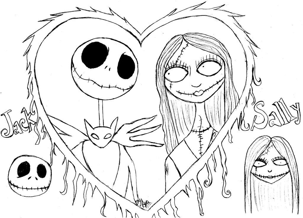Jack And Sally The Nightmare Before Christmas Eva Era Free Coloring Pag Halloween Coloring Pages Nightmare Before Christmas Drawings Cartoon Coloring Pages
