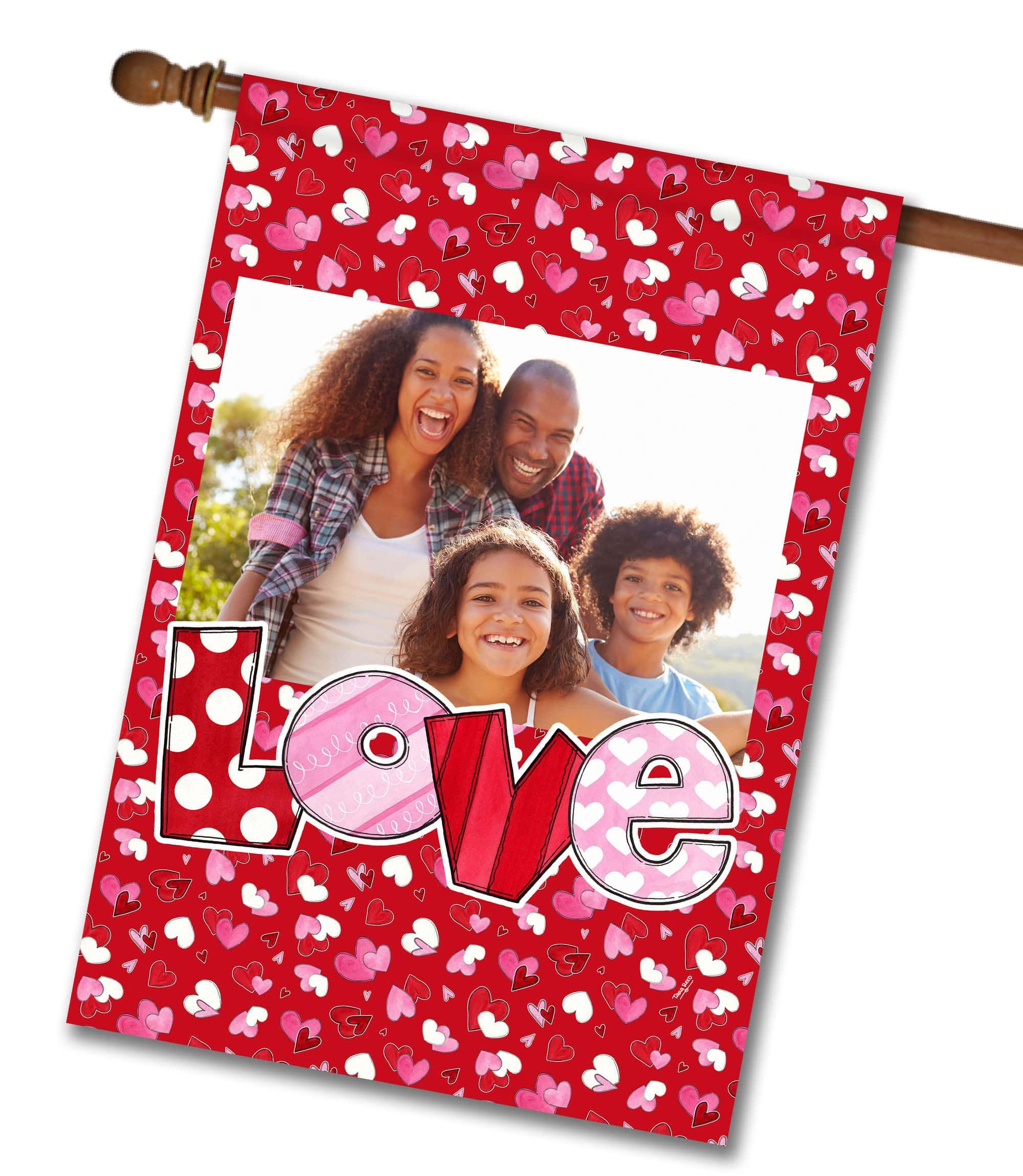 Love horizontal frame photo house flag 28 x 40 flag stand flag size x flag stand sold separately vibrant colors printed on a polycotton outdoor quality fabric digitally printed on both sides of the fabric jeuxipadfo Gallery