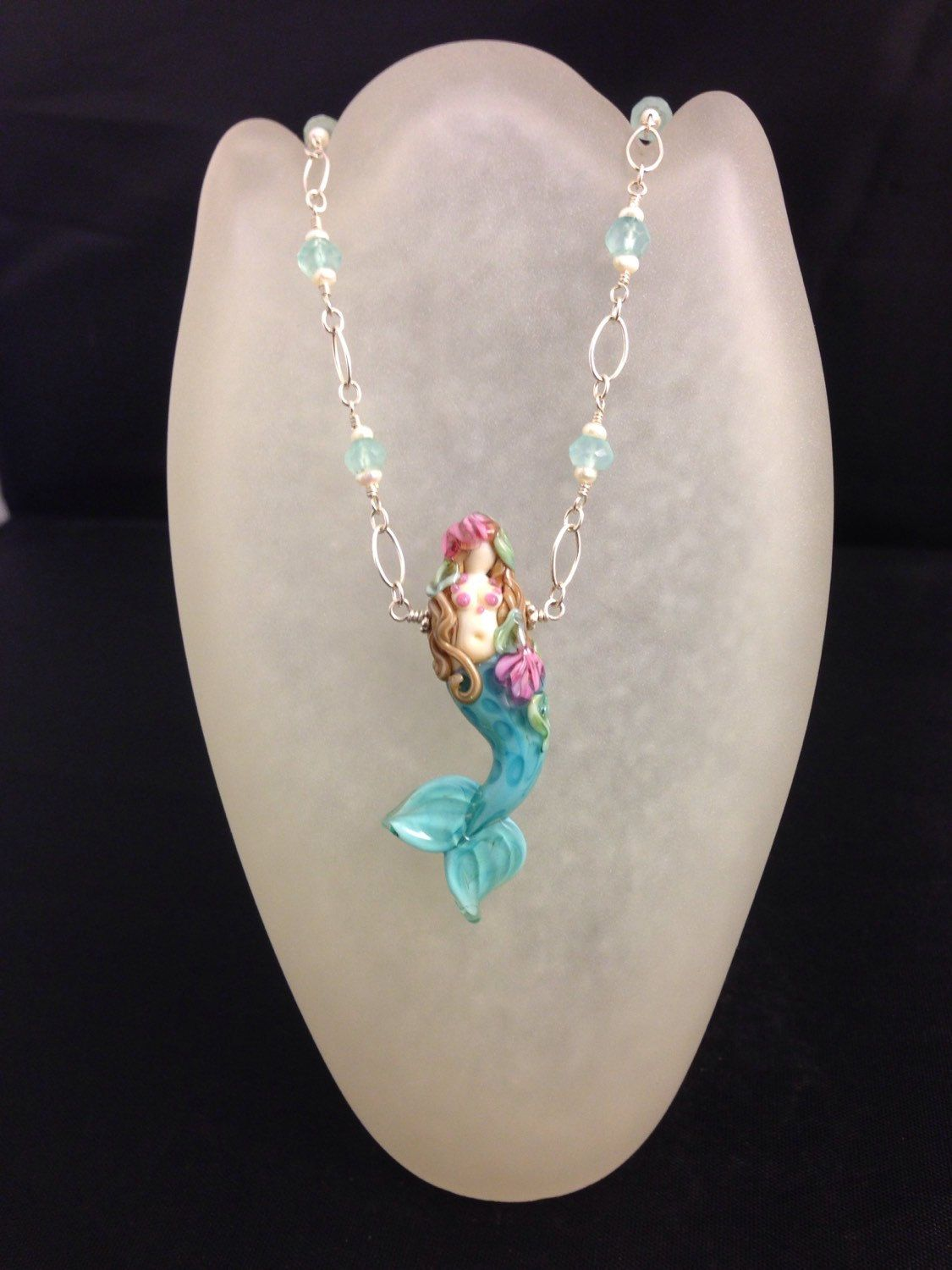 Mermaid necklace hand sculpted glass mermaid necklace