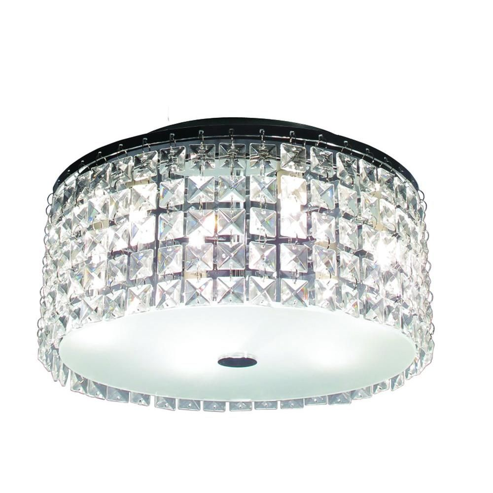 This Glam Brushed Chrome Ceiling Light Features Decorative