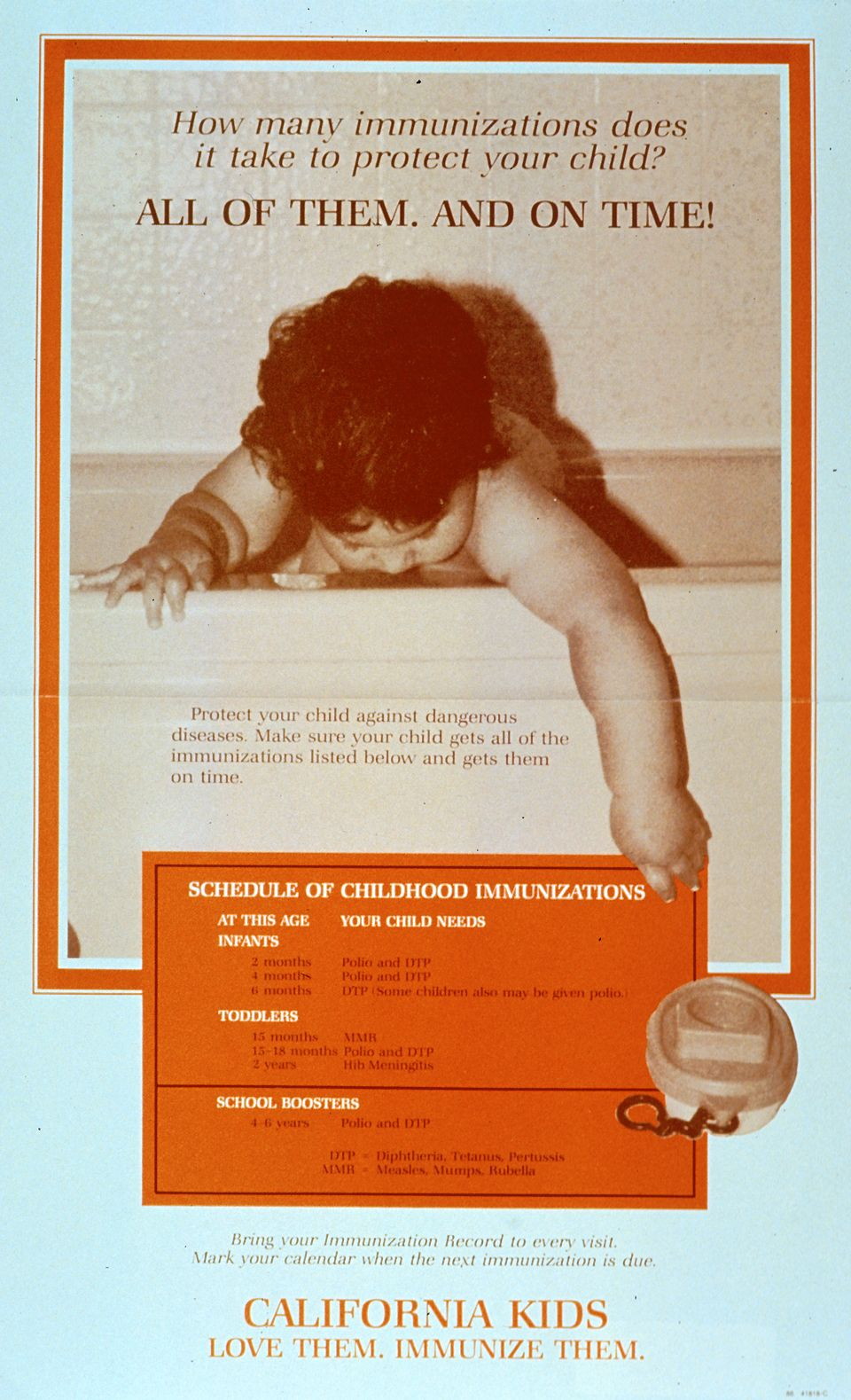 How Many Immunizations Does It Take. Reproduced with permission of the California Department of Health. [California : Dept. of Health Services, Immunization Unit, 1986]. Image A025876 from the Images from the History of Medicine (IHM).