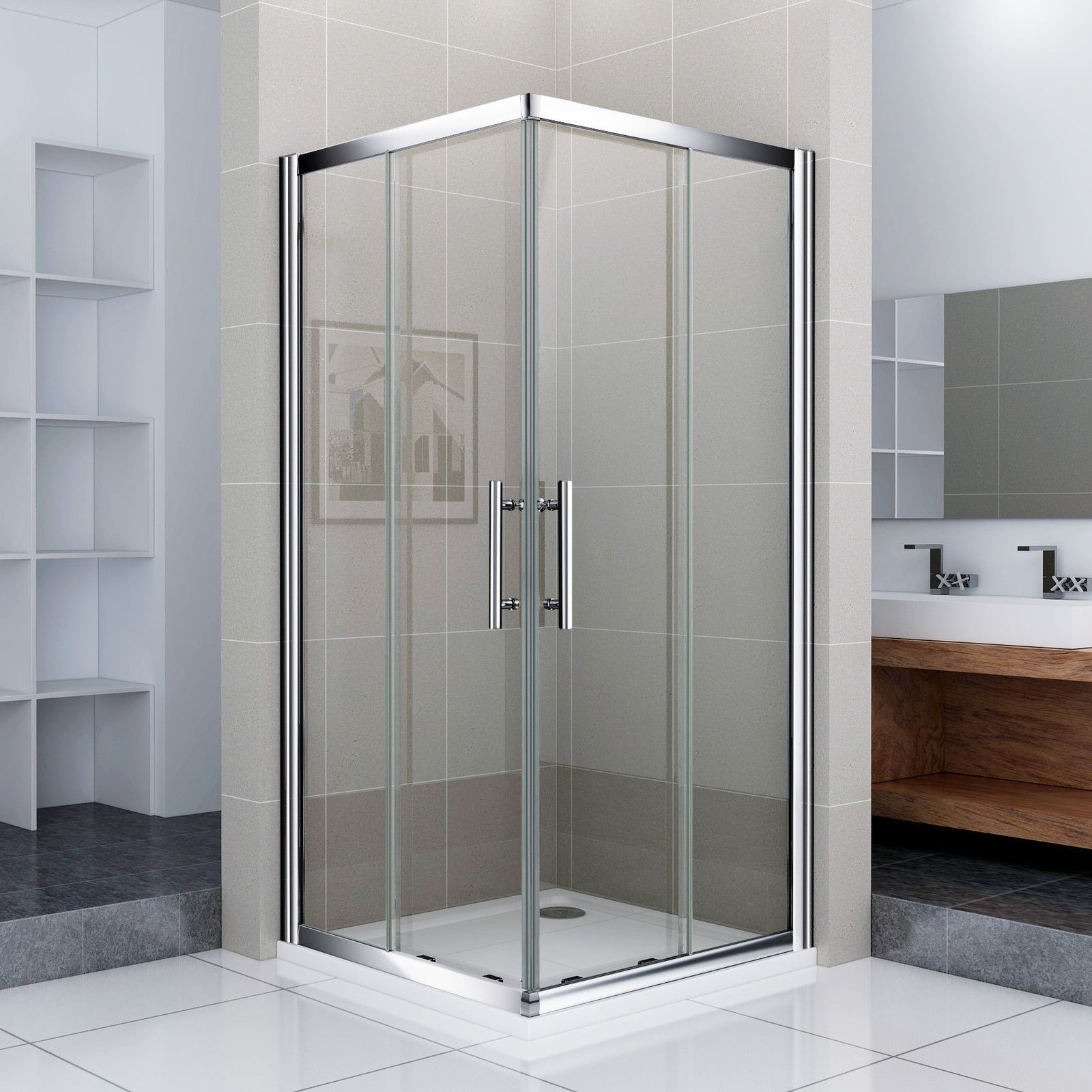 Tempered Duschkabinen 1000 x 1000 mm sliding shower enclosure door corner entry tray