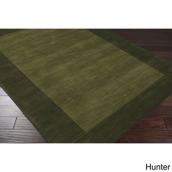 Hand-loomed Risor Solid Bordered Wool Area Rug (7'6 x 9'6) - Overstock™ Shopping - Great Deals on 7x9 - 10x14 Rugs