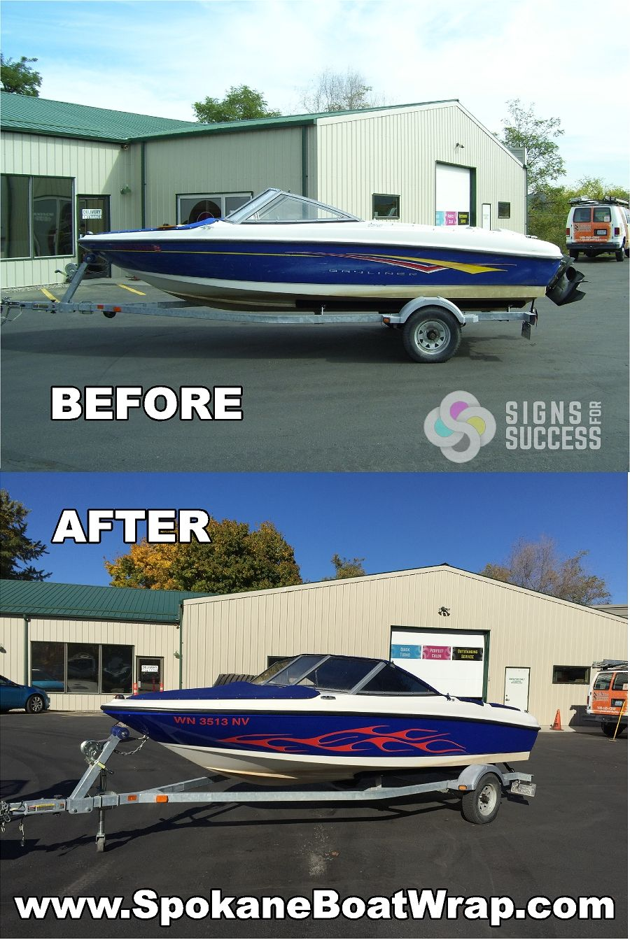 Bayliner Boat Custom Vinyl Wrap Featuring Old School Flames Boat - Custom vinyl stickers for boats
