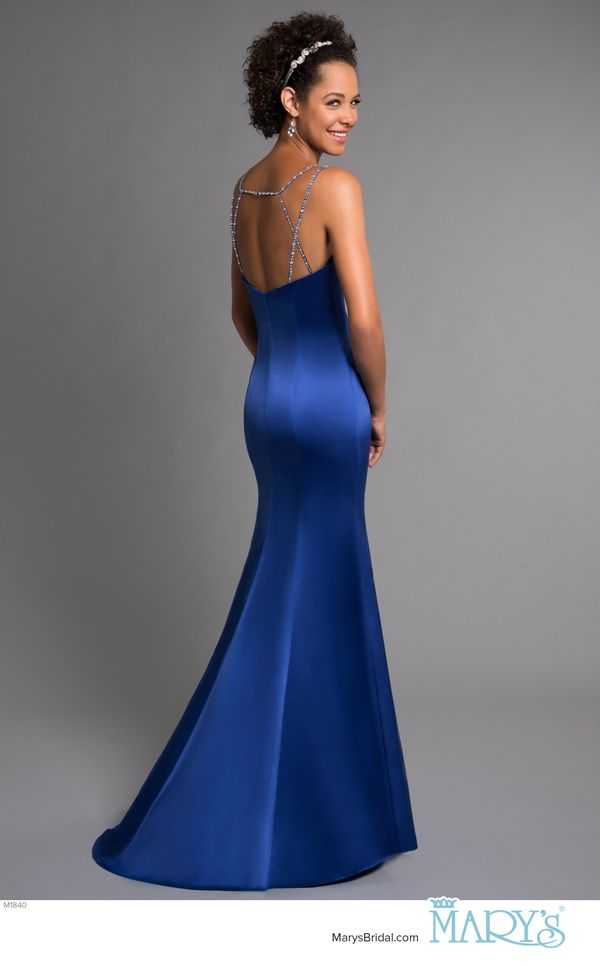 Modern Maids Style M1840 Satin Fit And Flare Bridesmaid Gown With Curved V Neck Beading Accent Crossed Straps In The Back Sweep Train