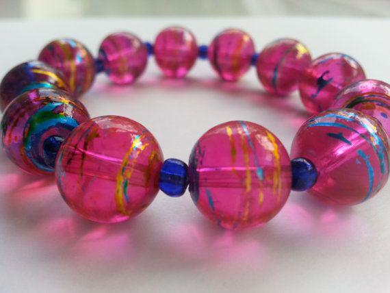Glass Beads Bracelet Beaded Bracelet pink beads by sultanjewelry