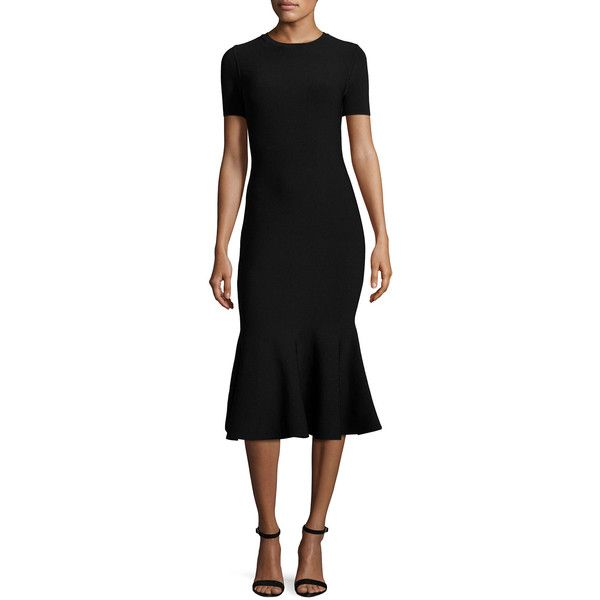 Milly Short-Sleeve Mermaid Midi Dress (€450) ❤ liked on Polyvore featuring dresses, black, zip dress, open back zipper dress, below knee dresses, open back dresses and crew neck dress