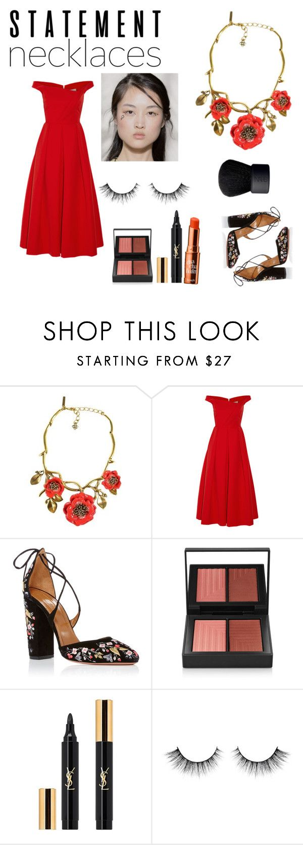 """30 jul"" by floo-carriillo ❤ liked on Polyvore featuring Oscar de la Renta, Preen, Aquazzura, NARS Cosmetics, Yves Saint Laurent and statementnecklaces"