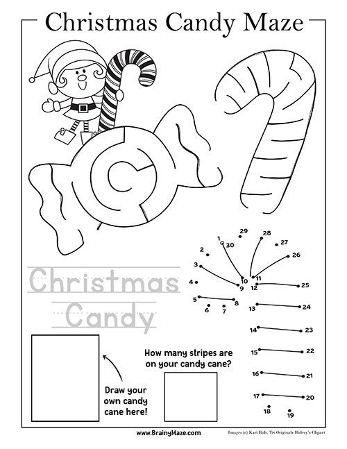 Free Candy Cane Maze And Activity Pages For Preschool And Kindergarten Christmas Maze Kindergarten Christmas Activities Christmas Kindergarten