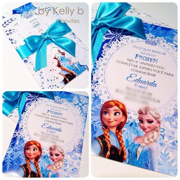 Convite Frozen envelope rendado