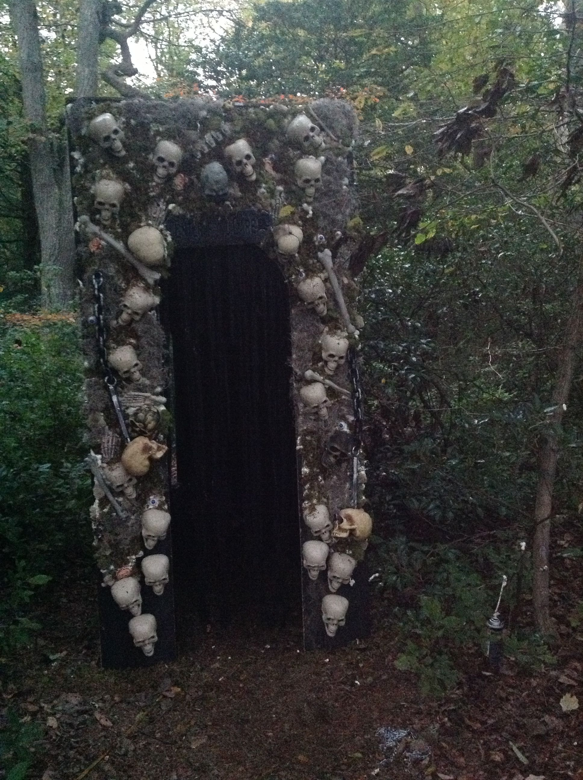 Entrance I made for the haunted trail Halloween outdoor