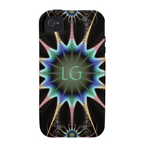 Prism Starburst Mandala Fractal iPhone 4 Cases $56.95 pastel rainbow colors, gorgeous! Personalize with your initials! from zazzle