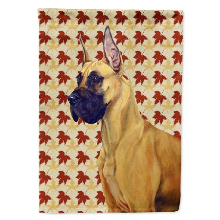 Great Dane Fall Leaves Portrait Garden Flag Multicolor Autumn