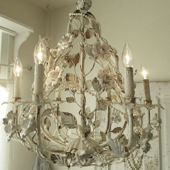 Distressed White Chandelier Lighting Shabby Cottage Chic