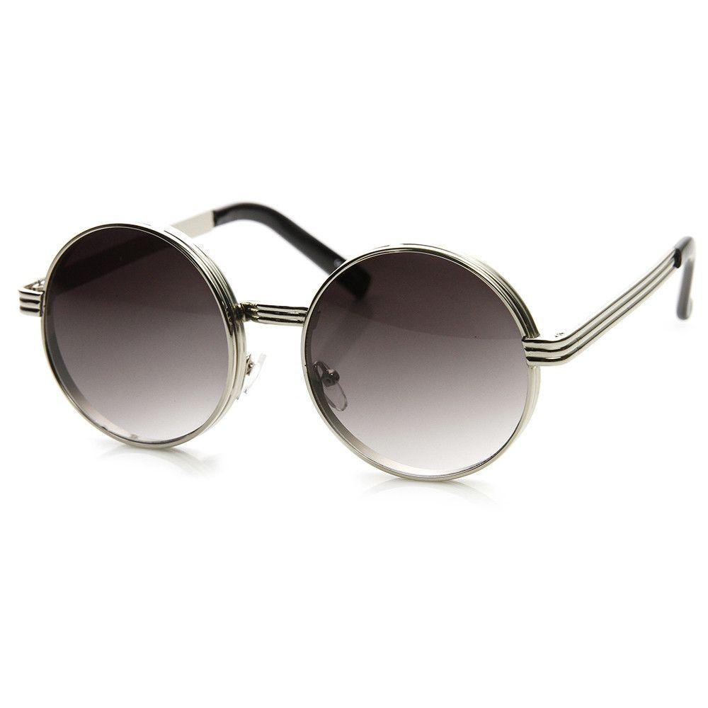 Retro Steampunk Inspired Thick Metal Round Sunglasses 9290 | zeroUV ...