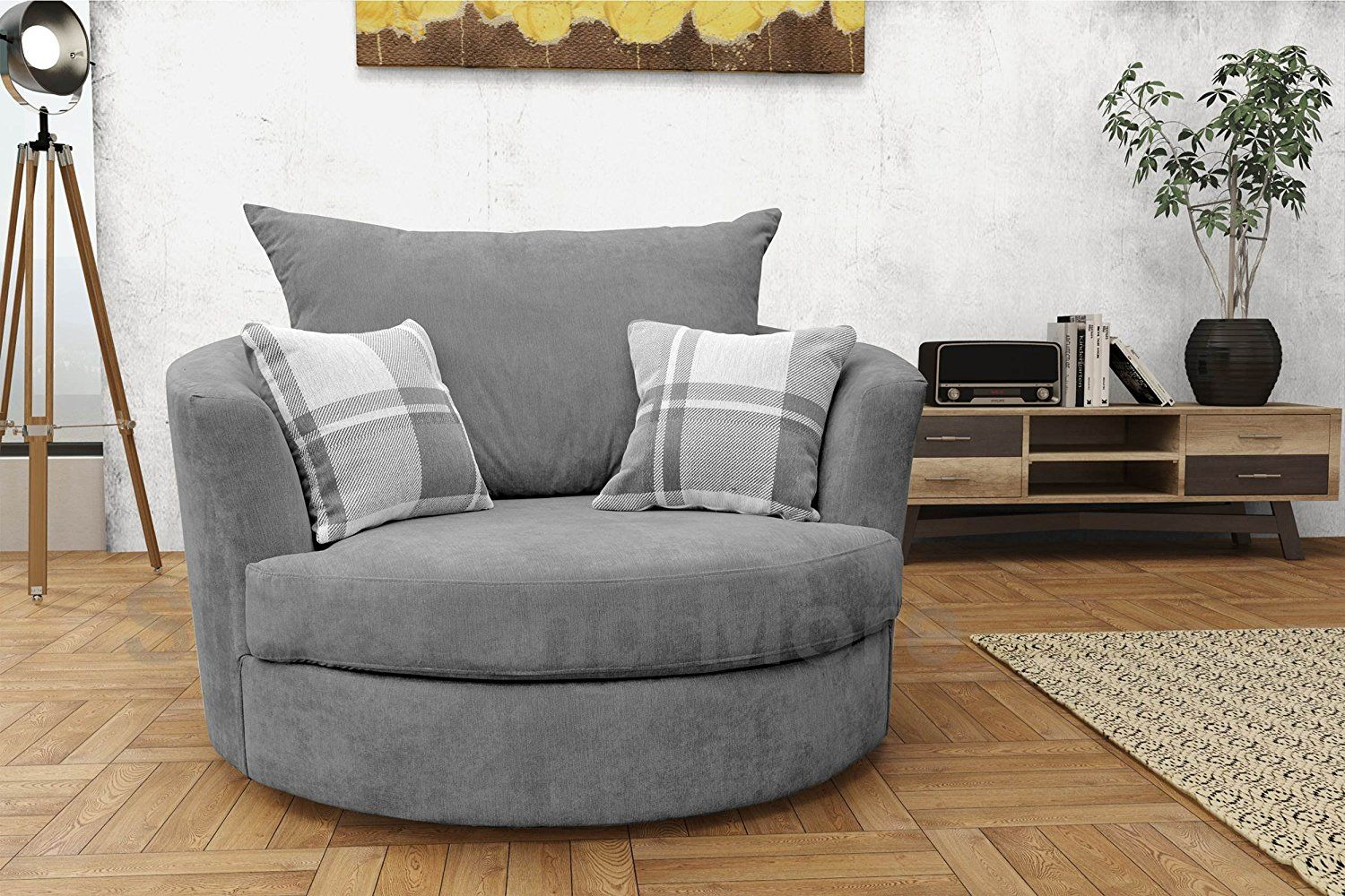 Large Swivel Round Cuddle Chair Fabric (Grey) Amazon.co