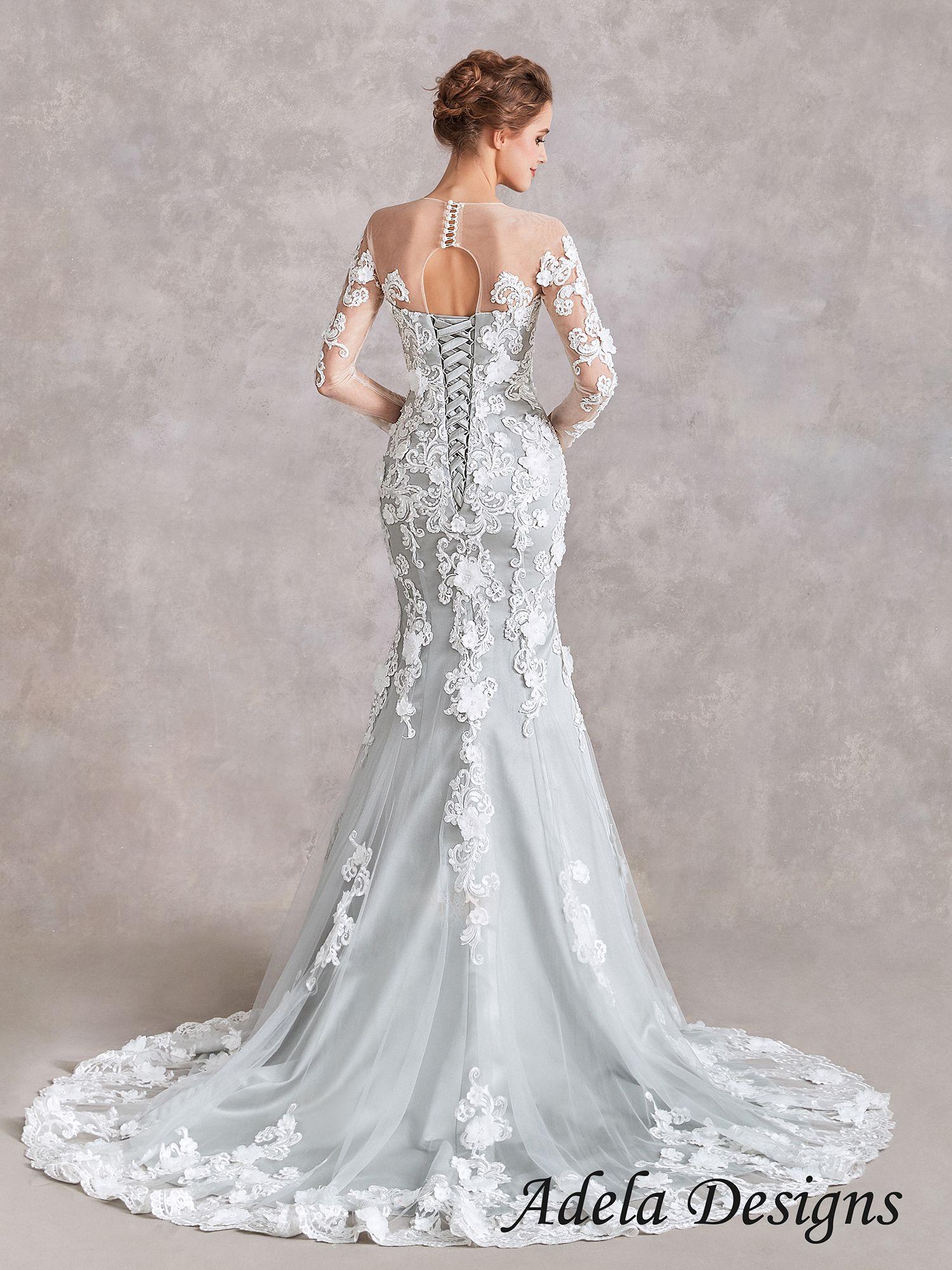 Silver Mermaid Wedding Dress Lace Bridal Gown Mermaid Trumpet Wedding Dresses Red Wedding Dresses [ 2000 x 1500 Pixel ]