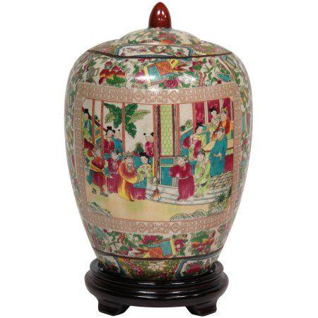 "Oriental Furniture 11"" Rose Medallion Porcelain Jar, decorative item, oriental design, any occasion, any room - Walmart.com"